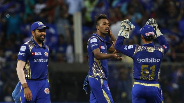Hardik Pandya's all-round exploits helped Mumbai Indians stay alive in the race for the IPL play-offs with a 13-run win over Kolkata Knight Riders in the Indian Premier League.(BCCI)
