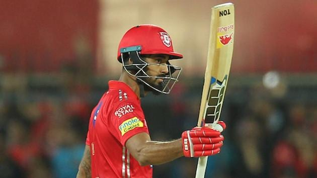 Get full cricket score of Kings XI Punjab vs Rajasthan Royals, IPL 2018, here. KL Rahul in action for KXIP against RR during the Indian Premier League match in Indore on Sunday.(BCCI)