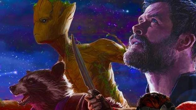 Groot, Rocket Raccoon and Thor in a poster for Avengers: Infinity War.