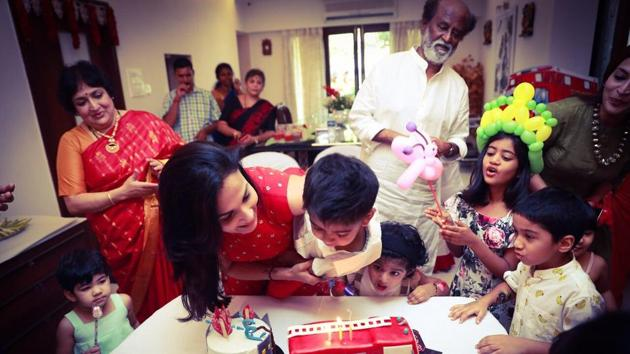 Rajinikanth celebrated grandson Ved's birthday with family in Chennai on Sunday.(Twitter)