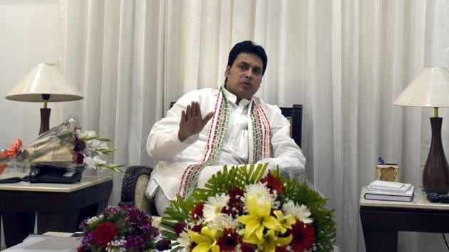 Tripura chief minister Biplab Kumar Deb. The BJP has said the panel's proposal is not the government's decision..(Sushil Kumar/HT File Photo)