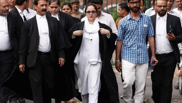 Deepika Singh Rajawat, the lawyer of Kathua rape-murder case victim, comes out of the Supreme Court in New Delhi.(REUTERS FILE)
