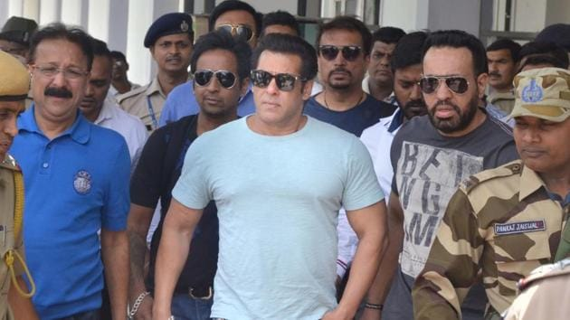 Actor Salman Khan arrives at Jodhpur airport on May 6.(IANS Photo)