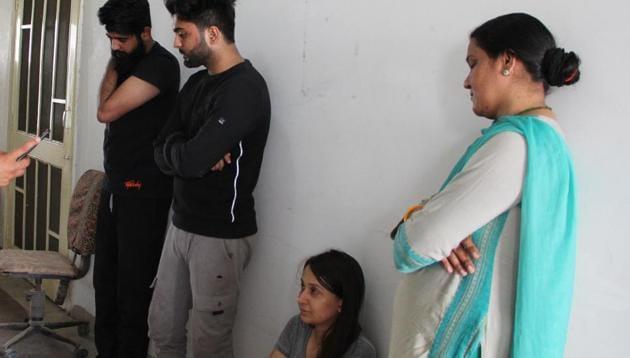 Priya Seth in police custody in Jaipur.(HT Photo)