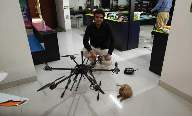 Milind Raj's rescue of the puppy using a robotic arm went viral on social media.(HT Photo)