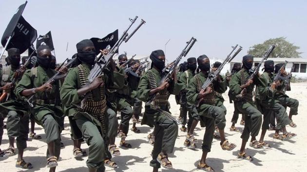 File photo of newly-trained al-Shabab fighters performing military exercises in Lafofe area,18 km south of Mogadishu, Somalia.(AP photo)