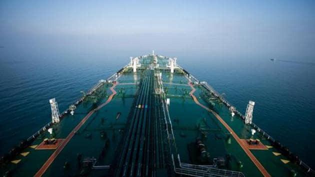 The crude oil tanker 'Devon' sails through the Persian Gulf towards Kharq Island to transport crude oil to export markets in the Persian Gulf, Iran.(Ali Mohammadi/Bloomberg)
