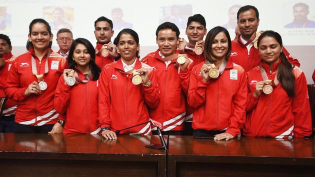 National Rifle Association of India welcomed all shooting medal winners of the Commonwealth Games 2018, during a press conference, in New Delhi, India, on April 17, 2018.(Raj K Raj/HT PHOTO)