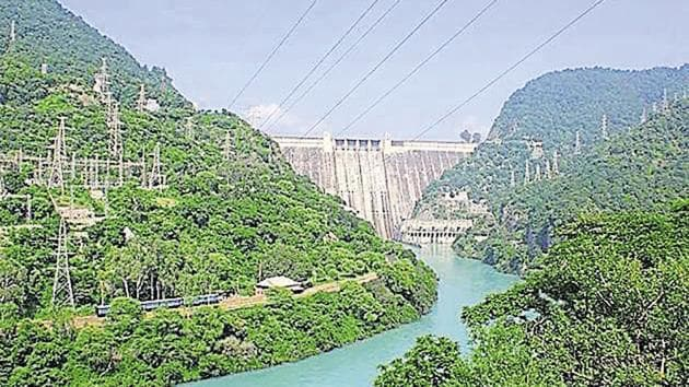 The Bhakra dam power project at Bilaspur district near the border of Himachal Pradesh and Punjab.(HT File Photo)