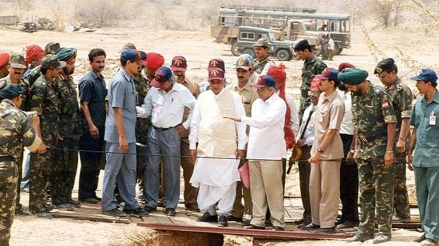 The then Prime Minister Atal Bihari Vajpayee at the underground nuclear explosion test sites at Pokhran in Rajasthan.(HT File Photo)