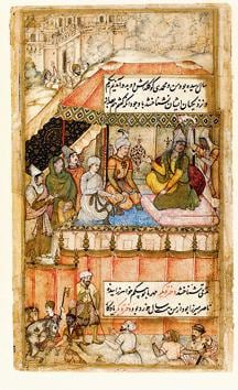 Khanzada begum returns to Babur's court after 10 years in exile. She is seated before a respectful Babur.(From Daughters of the Sun)