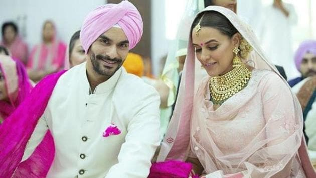See Neha Dhupia's pretty in pink wedding day lehenga to get inspiration for your big day. (Instagram/ Neha Dhupia)