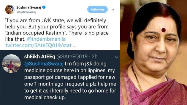 Sushma Swaraj's tweets have been shared over 5,000 times and have been liked by nearly 10,000 people.(Twitter)