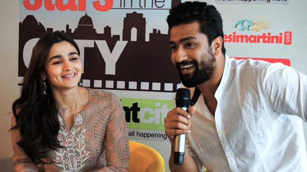 In the film, Alia Bhatt plays an Indian spy, who marries a Pakistani Army officer (played by Vicky Kaushal) to get crucial information to help her nation.(Sarang Gupta/HT Photo)