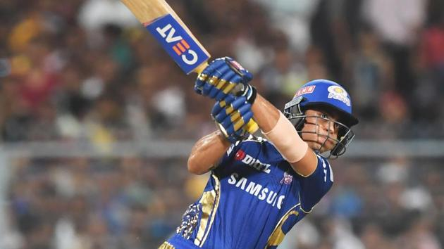 Mumbai Indians' Ishan Kishan hits a six during his match-winning innings in the 2018 Indian Premier League (IPL 2018) match against Kolkata Knight Riders at the Eden Gardens in Kolkata on Wednesday.(AFP)