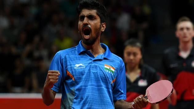 G Sathiyan, who won three medals at the 2018 Commonwealth Games, has signed with German club ASV Grunwettersbach Tischtennis.(AFP)