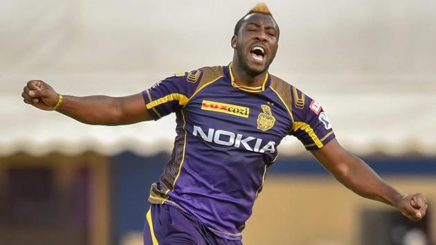 Andre Russell was the star performer for Kolkata Knight Riders during their IPL 2018 encounter against Kings XI Punjab on Saturday.(PTI)