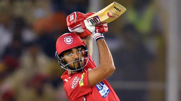 KL Rahul in action for Kings XI Punjab during their IPL 2018 encounter against Kolkata Knight Riders in Indore on Saturday.(PTI)