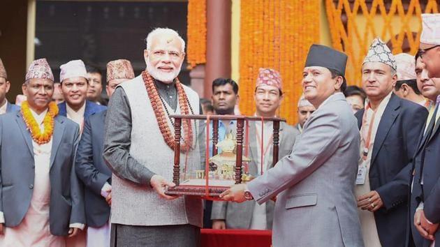 Prime Minister Narendra Modi at Pashupatinath Temple in Kathmandu.(PTI File Photo)