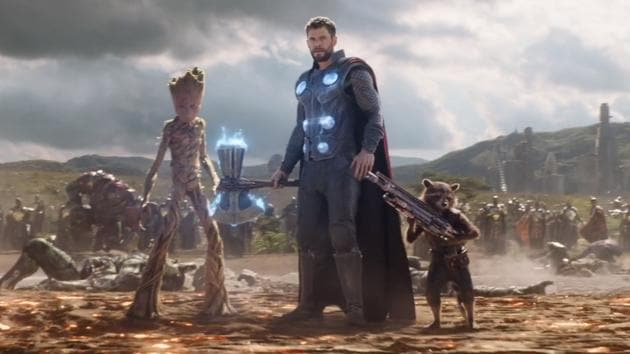 Thor, Rocket Raccoon and Groot arrive to fight at the Battle of Wakanda in a still from Avengers: Infinity War.