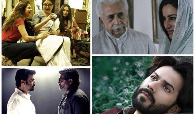 Scenes from the films (clockwise from left) Sonata, The Hungry, October and Vikram Vedha, which will be screened at the 13th Habitat Film Festival.