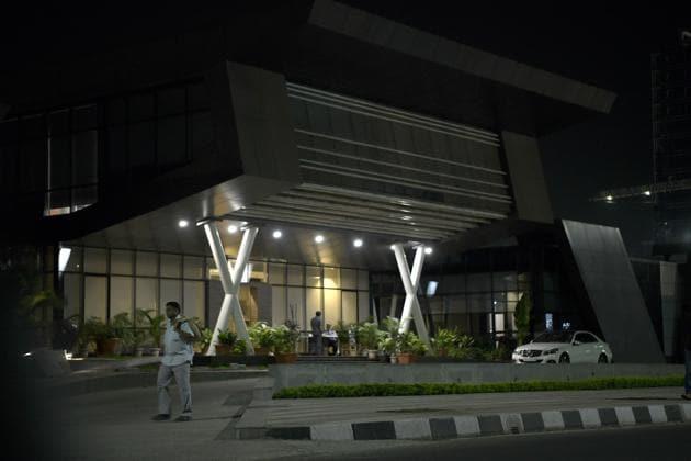 Entrance of Aurum Platz IT Park in Navi Mumbai, where Ascendas India Trust will acquire 1.4 million sq ft of space.(HT Photo)
