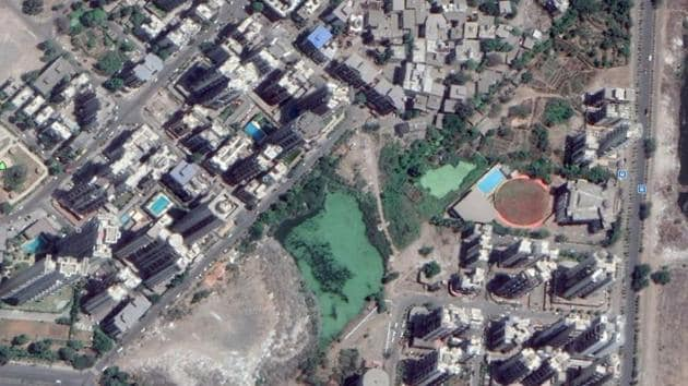 Citizens submitted satellite images that show 75% of the water body has been reclaimed.(HT Photo)