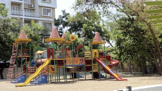 Rajmata Jijau Masaheb garden near Shivnagari society behind Eklavya college on Wednesday.(Ravindra Joshi/HT PHOTO)