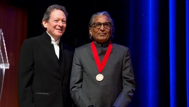 Prof Balkrishna Doshi at the Pritzker Prize ceremony in Toronto, along with Tom Pritzker, chair of the Hyatt Foundation, which sponsors the award.(Photo: The Hyatt Foundation/Pritzker Architecture Prize)