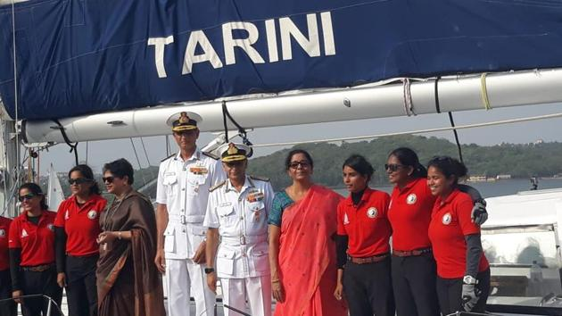 The expedition, Navika Sagar Parikrama, was the first-ever Indian circumnavigation of the globe by an all-women crew.(Picture courtesy: Defence minister/Twitter)
