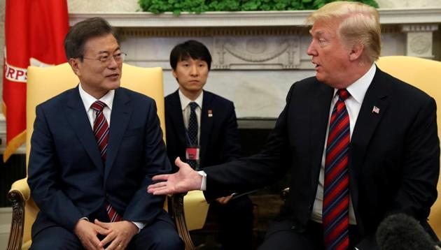 South Korean President Moon Jae-in (left), who met Donald Trump in Washington, urged him not to let a rare opportunity for a summit with the reclusive North get away.(Reuters)