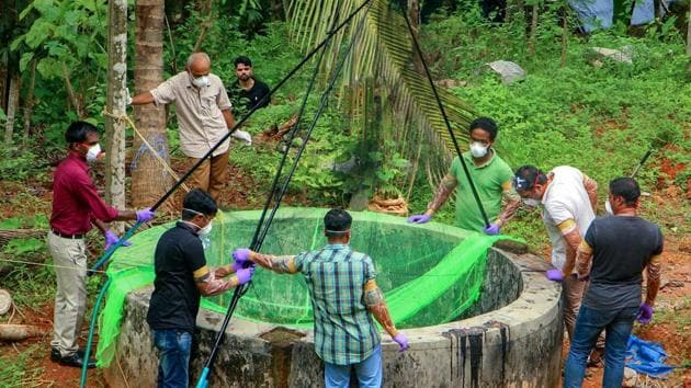 <p>Animal Husbandry department and forest officials collect bats from the well of a house after the outbreak of &lsquo;Nipah&rsquo; virus, near Perambra in...