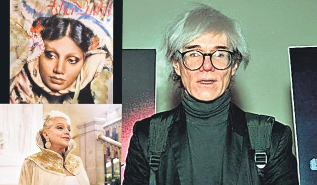 Asha Puthil, a cover of her album, and Andy Warhol.