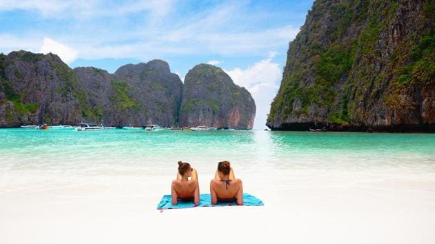 Maya Bay in Thailand was featured in the film The Beach starring Leonardo Di Caprio.(Shutterstock)