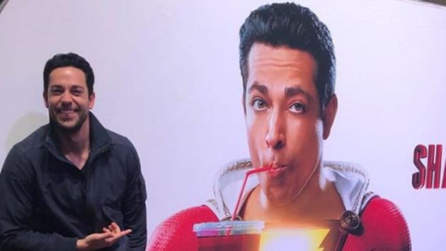 Zachary Levi poses beside his character, Shazam!(Instagram)
