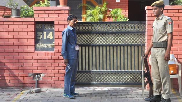 Former state BJP president Ashok Parnami's residence in Jaipur.(HT Photo)
