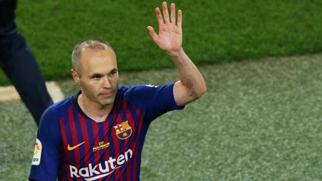 Andres Iniesta announced at a news conference in April that he was calling time on his long career with Barca, where he moved to aged 12 in 1996 to join the club's academy(REUTERS)