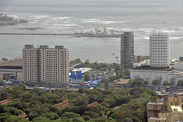 An aerial view of Mumbai from a high rise building in Lower Parel.(HT Photo)