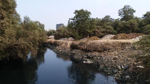 200 truckloads of debris dumped in Mahim creek area, say activists.(HT Photo)