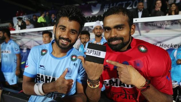 Hockey India's camp for the FIH Champions Trophy will have six goalkeepers including PR Sreejesh (right), who replaced Manpreet Singh as the Indian hockey team skipper.(Getty Images)