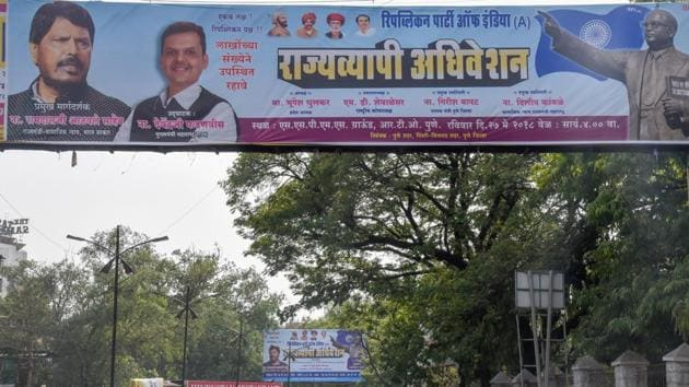 The RPI's new political flex at the Pune railway station, for the state-level convention, on Thursday.(SANKET WANKHADE/HT PHOTO)
