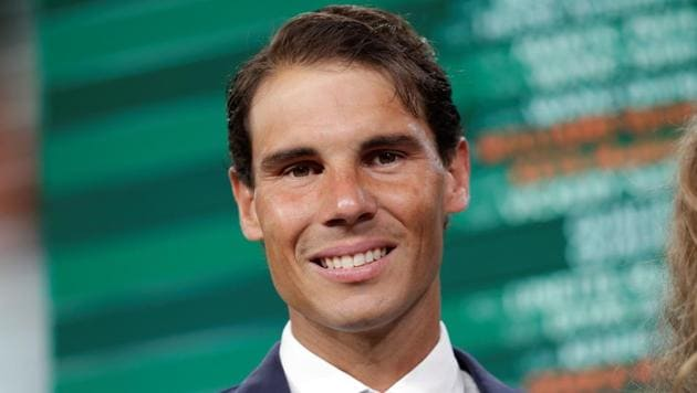 Spanish tennis player Rafael Nadal poses after he attended the official draw ceremony for the Roland Garros 2018 French Open in Paris on Thursday.(AFP)
