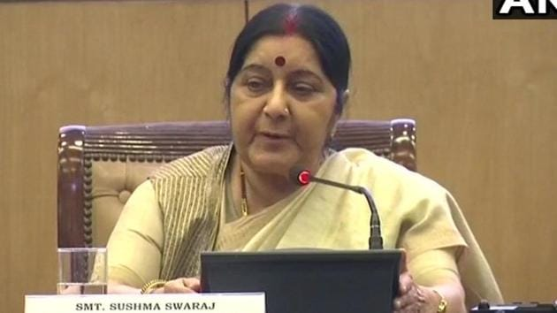 Union external affairs minister Sushma Swaraj was addressing media personnel on the completion of four years of the Narendra Modi government and released a book on the achievements of her ministry along with junior ministers VK Singh and MJ Akbar.(Twitter/ANI)