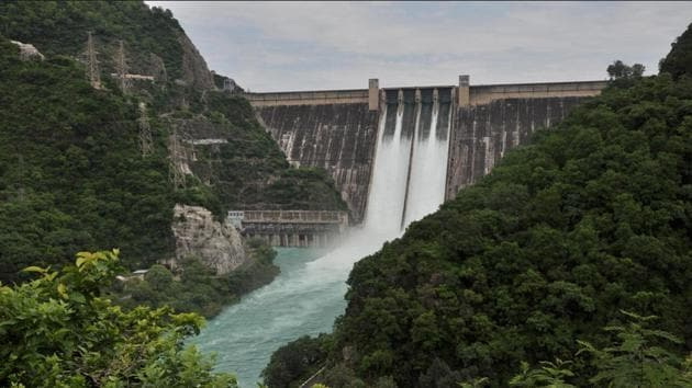 (File photo of the Bhakra-Nangal dam before the decline in reservoir level.)