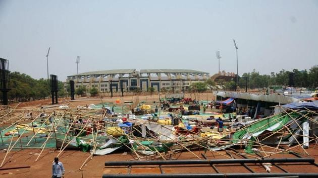 A fair damaged during after a storm in Ranchi.(PTI Photo)