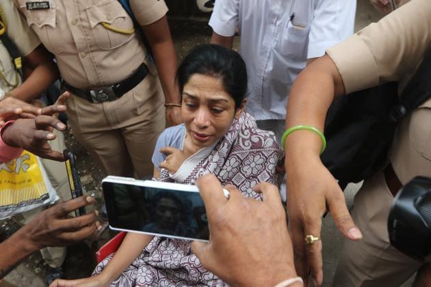 Mumbai, India - April 11, 2018: Indrani Mukerjea discharged from JJ Hospital in Mumbai, India, on Wednesday, April 11, 2018. (HT PHOTO)(HT File Photo)