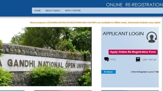 Re-registration means registering for next year/semester of a programme. Only students who have enrolled in undergraduate/postgraduate programmes at IGNOU can apply for it.