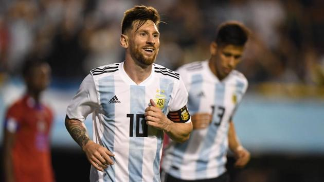 Lionel Messi celebrates after scoring gainst Haiti during their international friendly football match at Boca Juniors' stadium La Bombonera in Buenos Aires, on May 29, 2018.(AFP)