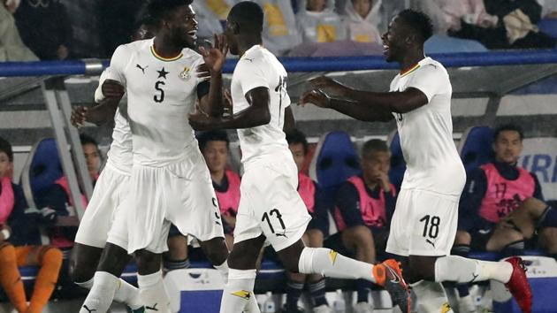 Ghana's Thomas Partey, centre left, celebrates with his teammates after scoring a goal, during a friendly football match between Japan and Ghana in Yokohama.(AP)
