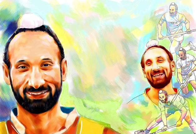 Sardar Singh had captained India's triumphant men's hockey side at the 2014 Asian Games and is eager to be part of the team's title defence this year.(Illustration by Biswajit Debnath/HT)